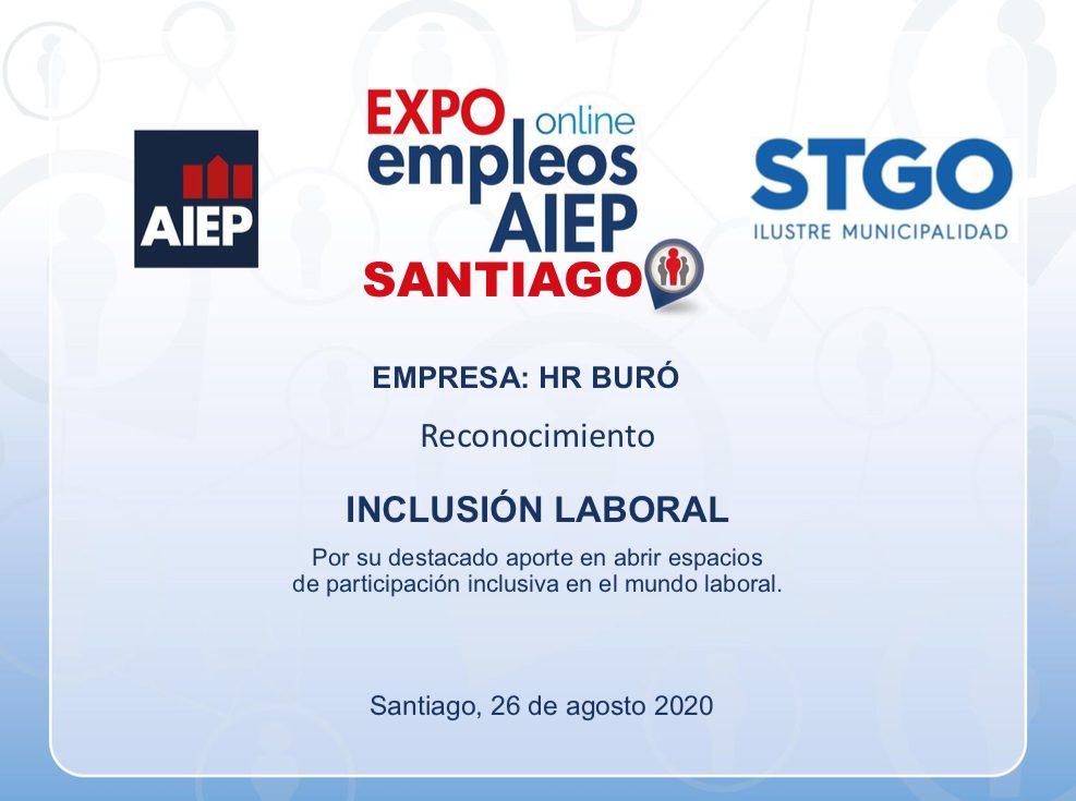 Reconocimiento a HR Burô por su aporte en la inclusión laboral.